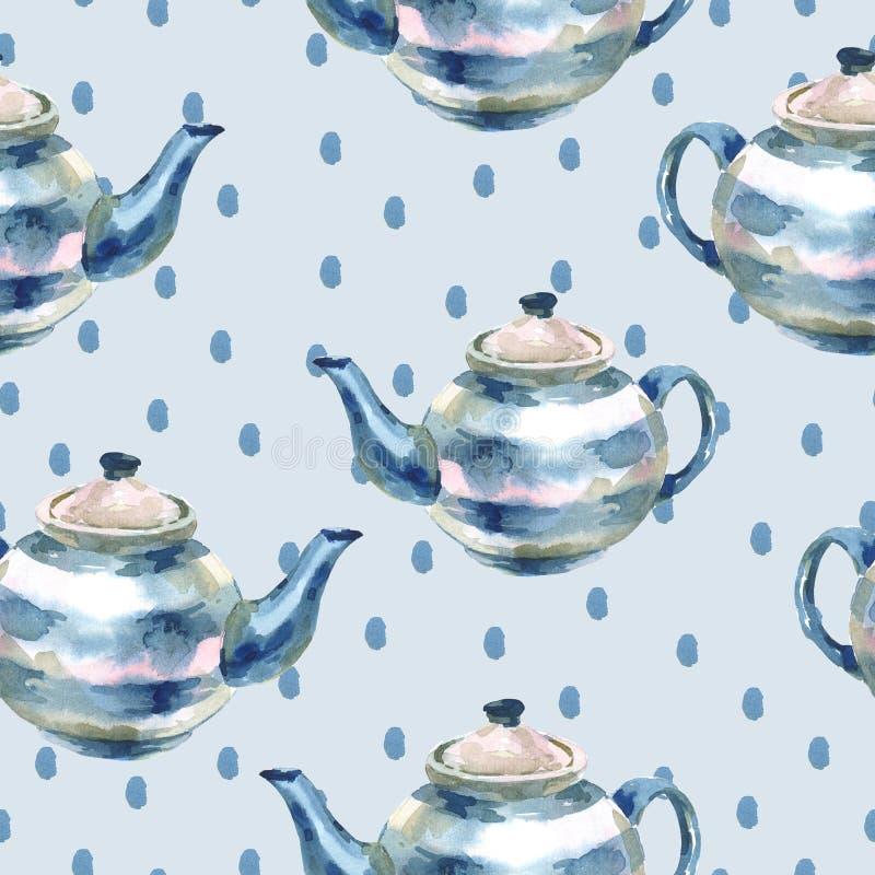 Bezszwowy akwareli tło z teapots ilustracji