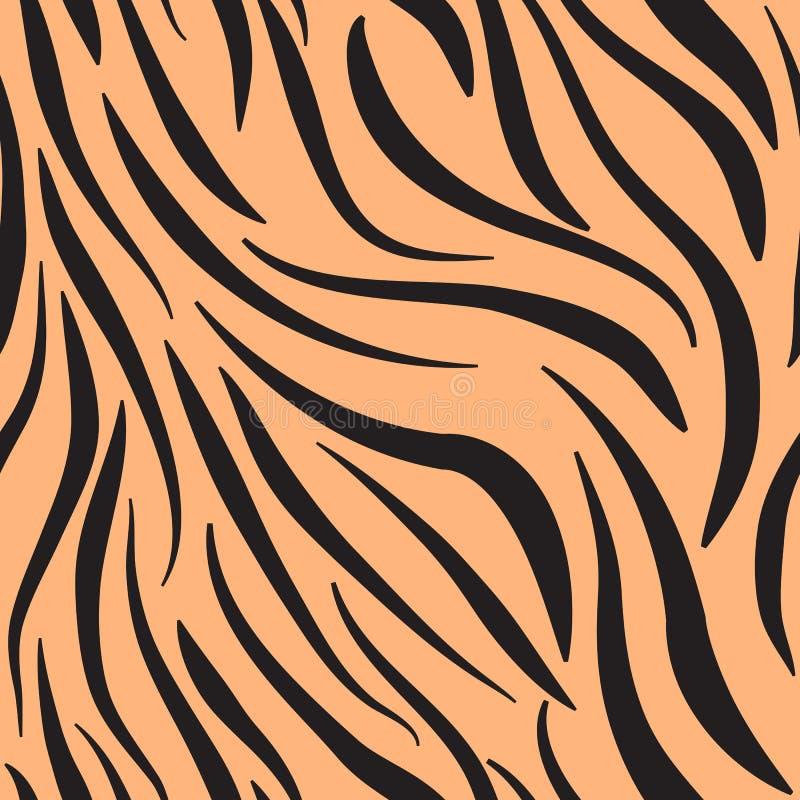 Bezszwowy animalistyczny druk czerń i pomarańcze, imituje skórę tygrys ilustracja wektor