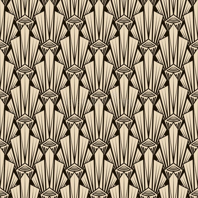 Bezszwowy antyka wzoru ornament Geometryczny art deco eleganccy półdupki ilustracji