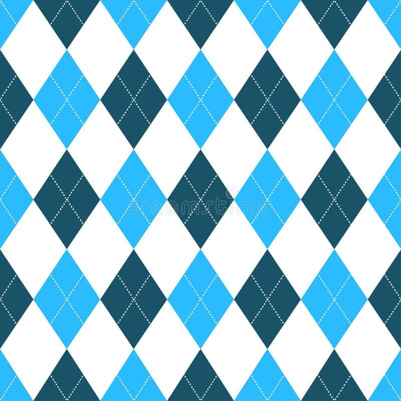 Bezszwowy argyle wzór w cieniach błękit z białym ściegiem również zwrócić corel ilustracji wektora ilustracja wektor