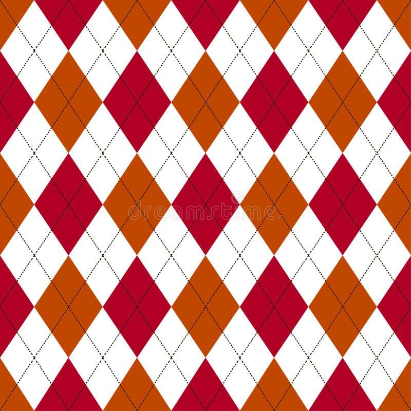 Bezszwowy argyle wzór w cieniach czerwień i pomarańcze z białym ściegiem również zwrócić corel ilustracji wektora royalty ilustracja