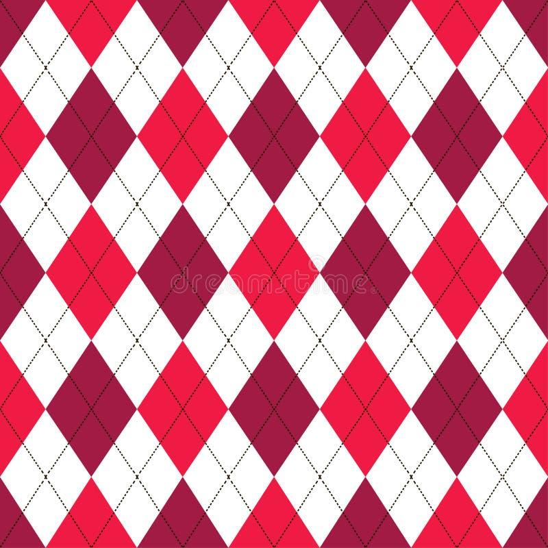 Bezszwowy argyle wzór w cieniach czerwień z białym ściegiem również zwrócić corel ilustracji wektora ilustracja wektor