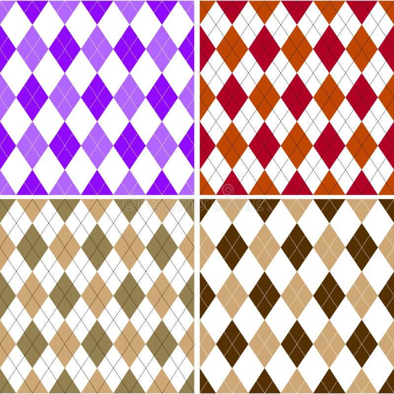 Bezszwowy argyle wzór w cieniach z białym ściegiem również zwrócić corel ilustracji wektora ilustracji