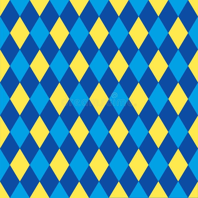 Bezszwowy arlekinu wzoru tło w błękicie i kolorze żółtym ilustracji