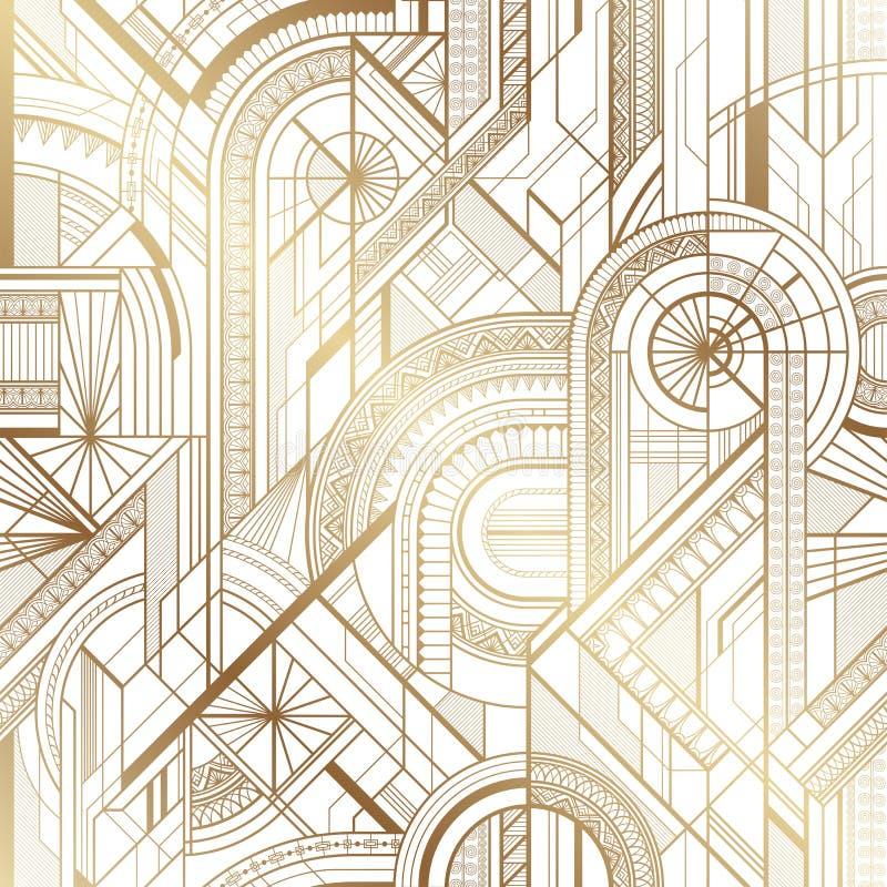 Bezszwowy art deco geometryczny złoto i bielu wzór ilustracji