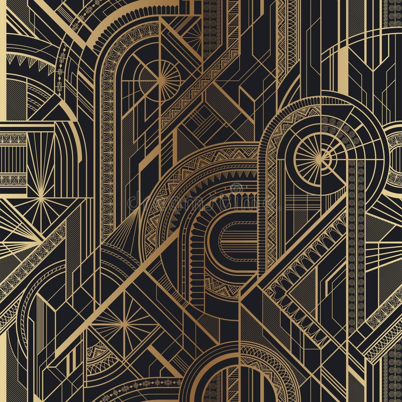 Bezszwowy art deco geometryczny złoto i czerń wzór royalty ilustracja
