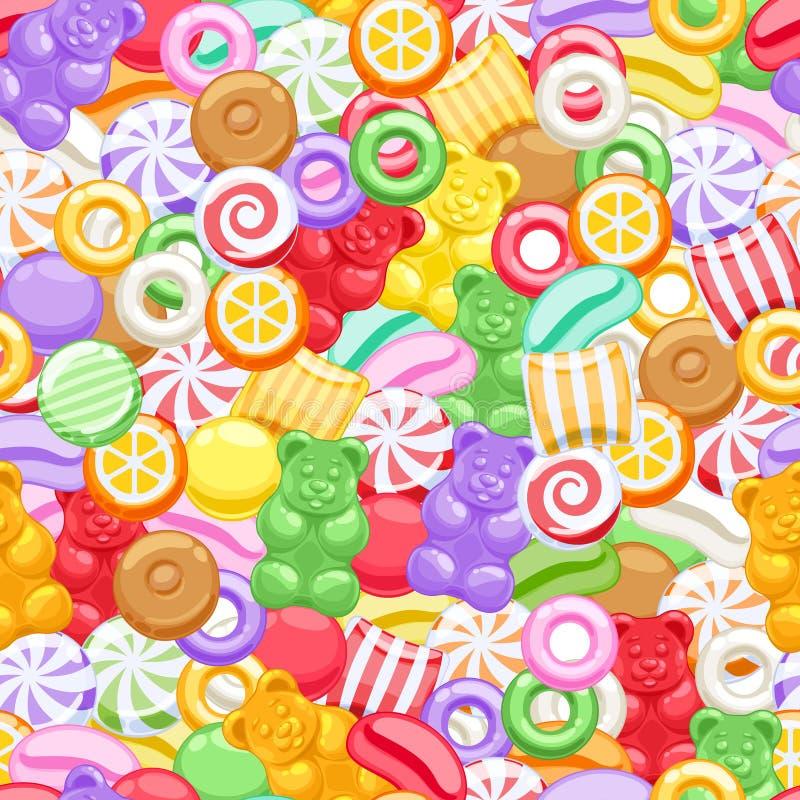 Bezszwowy asortowany cukierków cukierków tło royalty ilustracja