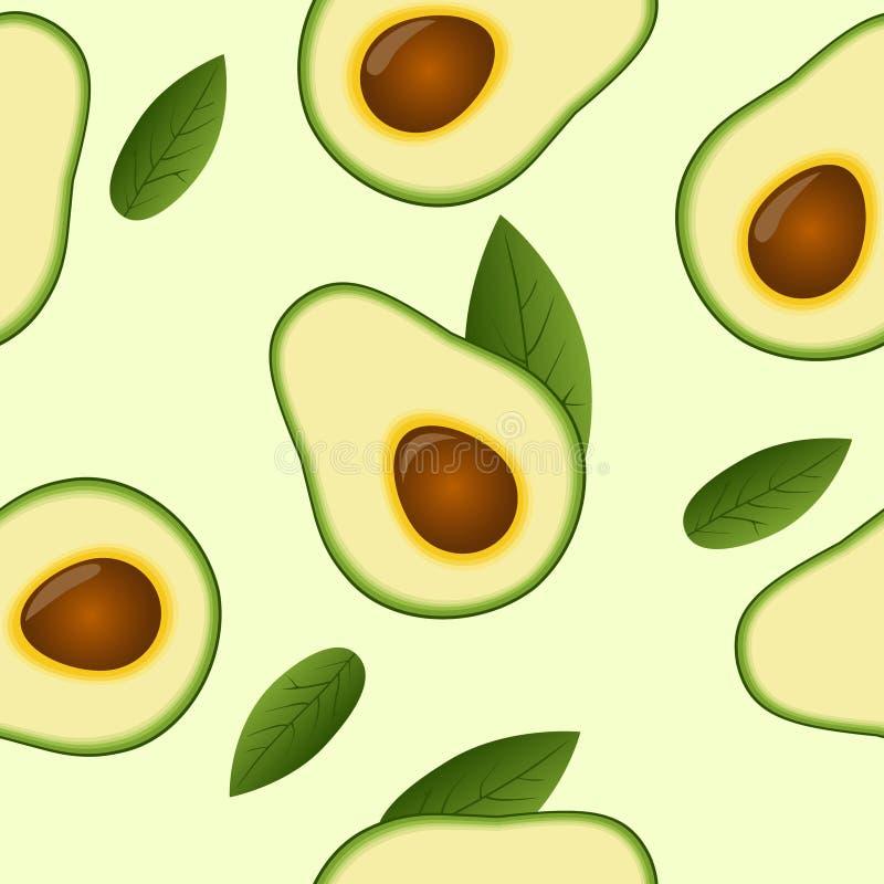 Bezszwowy avocado wzór z liściem ilustracji