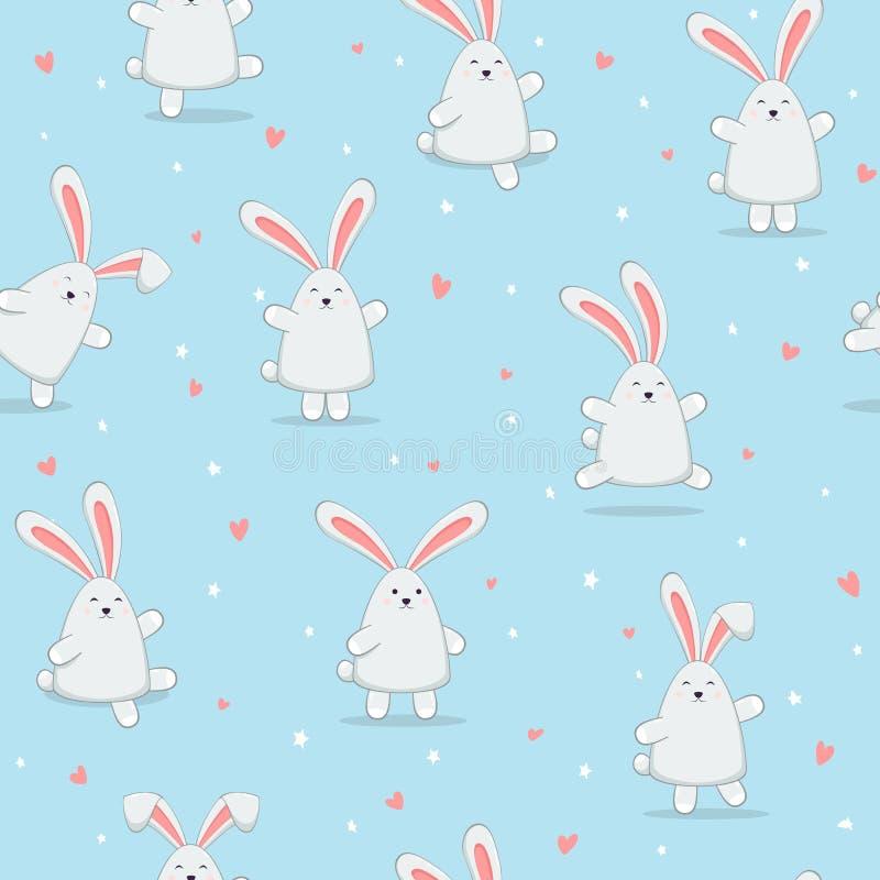 Bezszwowy Błękitny tło z Szczęśliwymi Wielkanocnymi królikami ilustracja wektor