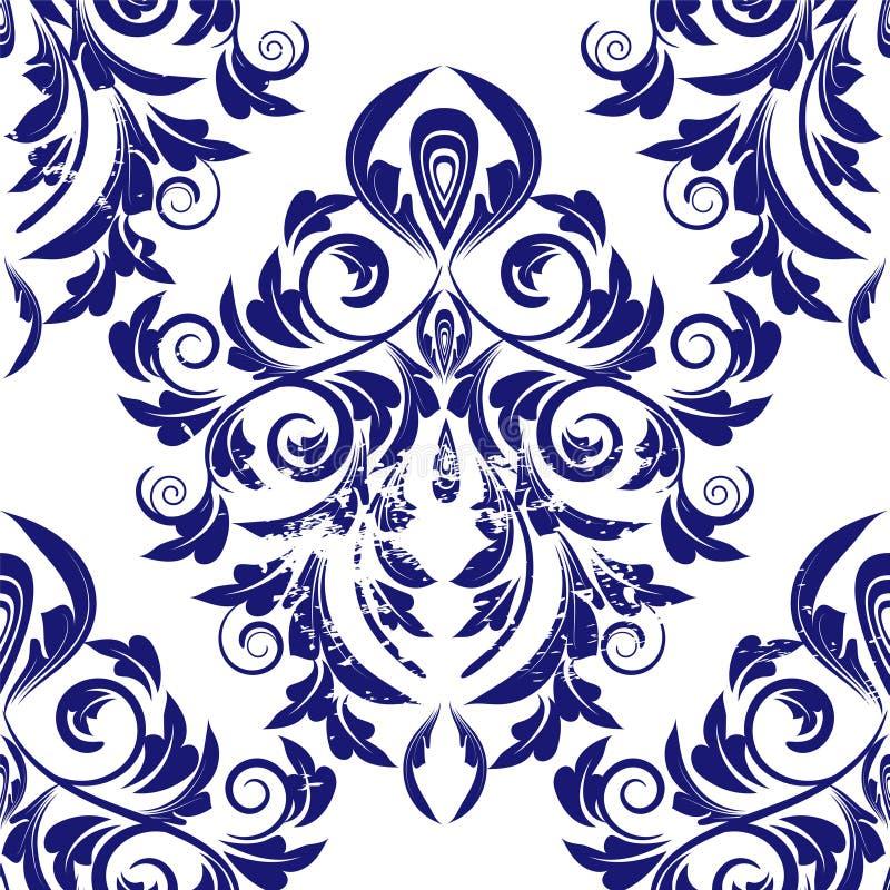 Bezszwowy błękita adamaszek royalty ilustracja