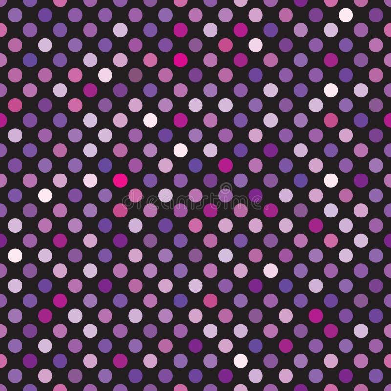 Bezszwowy błękita, purpur, fuksji, fiołka i menchii kropki wzoru tło, ilustracja wektor