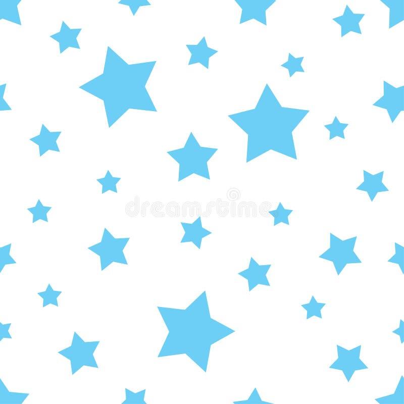 Bezszwowy błękitnej gwiazdy kształta wzór Tekstura drukować na okładkowym papierze lub tkaninie dla wakacyjnego pamięć dnia Wekto ilustracja wektor