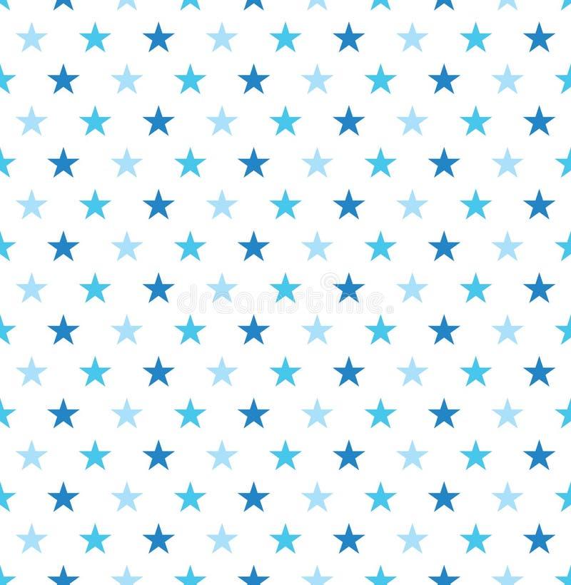 Bezszwowy błękitnej gwiazdy opakunkowego papieru wzór Gwiazdowego wzoru tło ilustracji