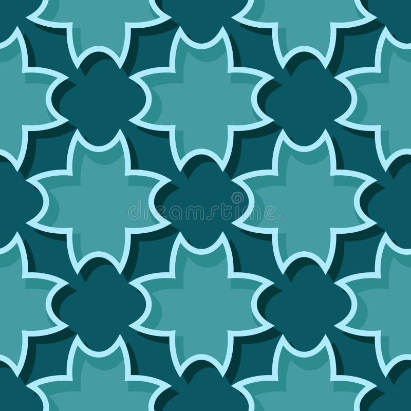 Bezszwowy błękitnej zieleni tło z 3d kwiecistymi elementami ilustracji