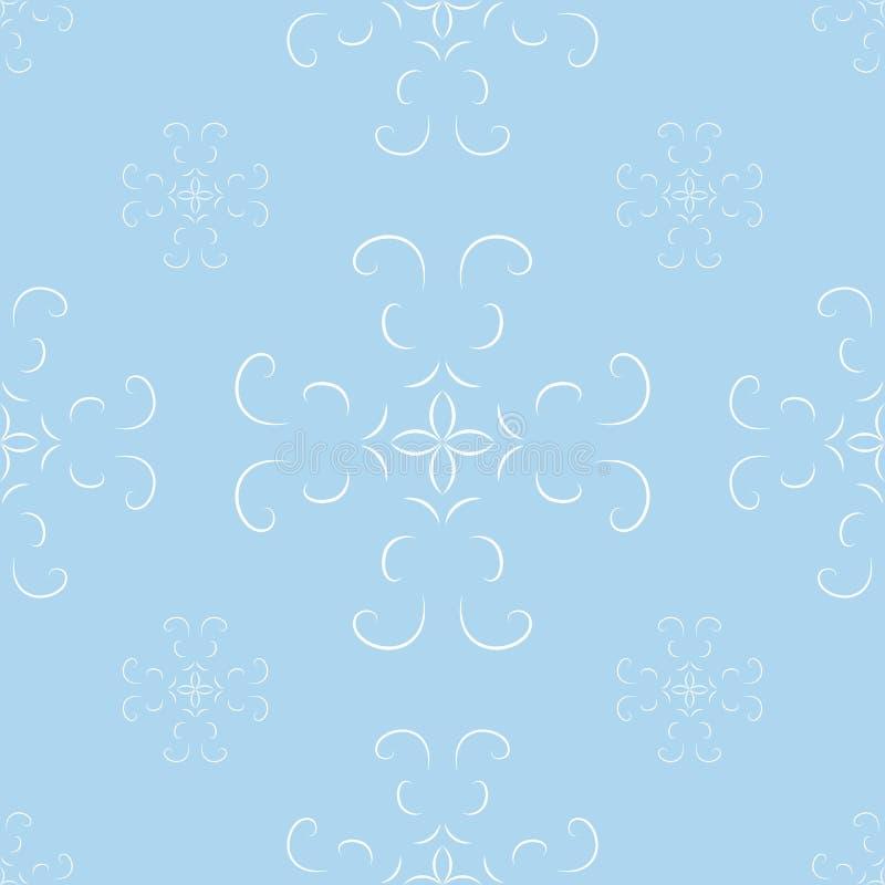 Bezszwowy błękitny abstrakcjonistyczny geometryczny wzór z kwiecistymi elementami i arabesk ilustracja wektor