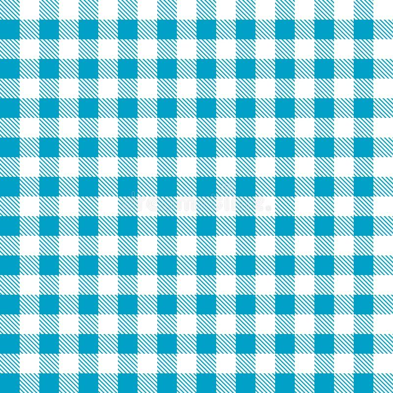 Bezszwowy błękitny biały tablecloth wzór ilustracja wektor