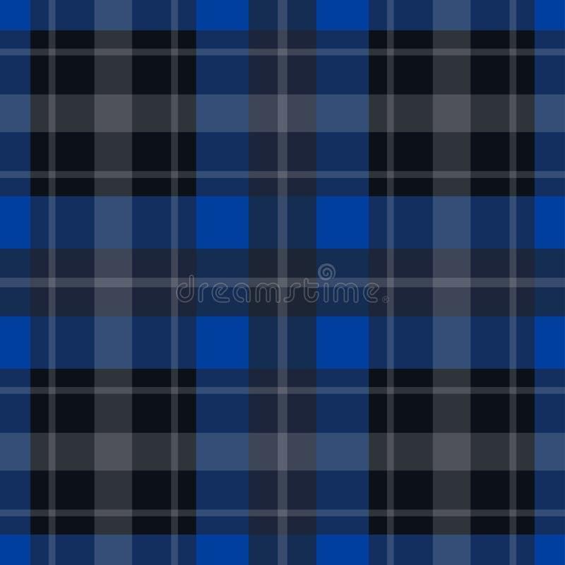 Bezszwowy błękitny, czarny tartan, - biel lampasy ilustracja wektor