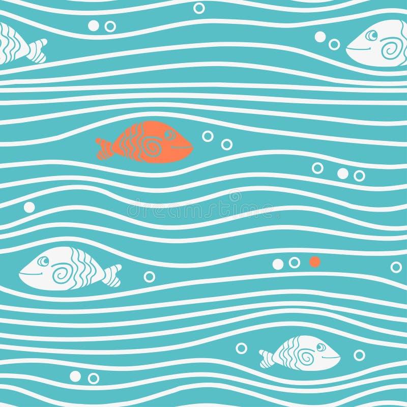 Bezszwowy błękitny prosty wzór z prostymi ryba i fala Wektorowy prosty morski tło royalty ilustracja