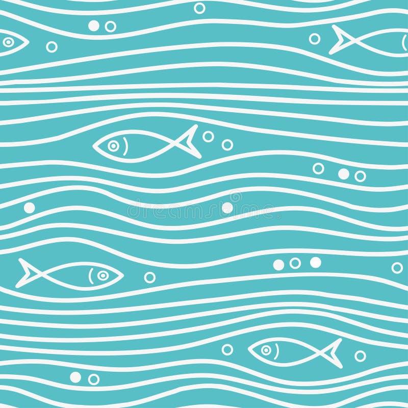 Bezszwowy błękitny prosty wzór z prostymi ryba i fala Wektorowy prosty morski tło ilustracja wektor
