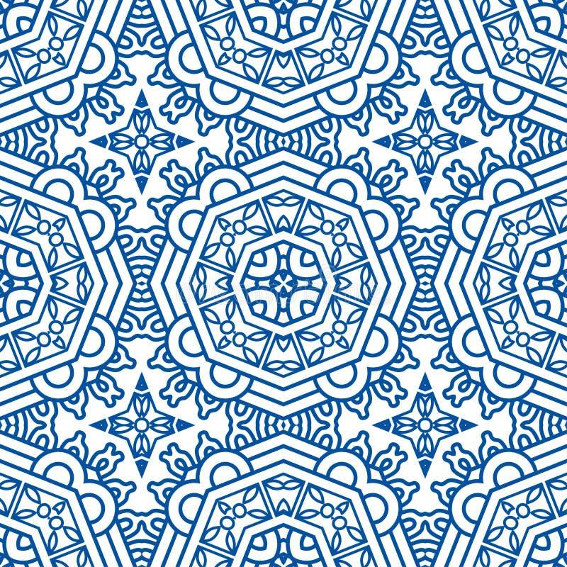 Bezszwowy Błękitny Retro Deseniowy tło ilustracja wektor