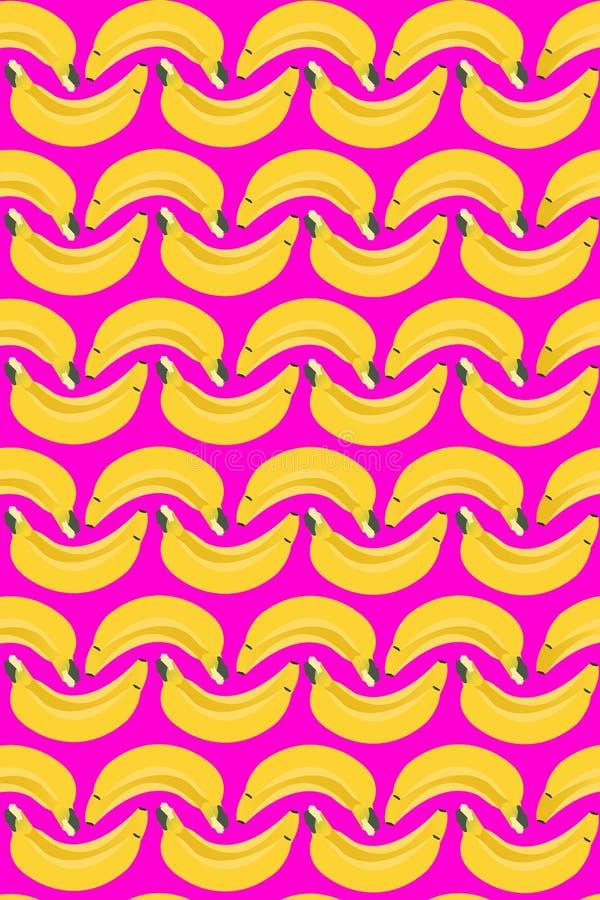 Bezszwowy banan Deseniuje Owocową teksturę Nowożytną royalty ilustracja