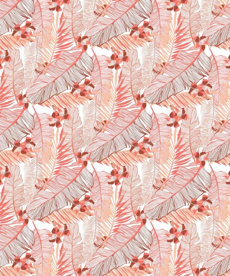Bezszwowy bananowy liścia wzór, dżungla nastrój z kwiatami w jaskrawych koralowych brzmieniach royalty ilustracja