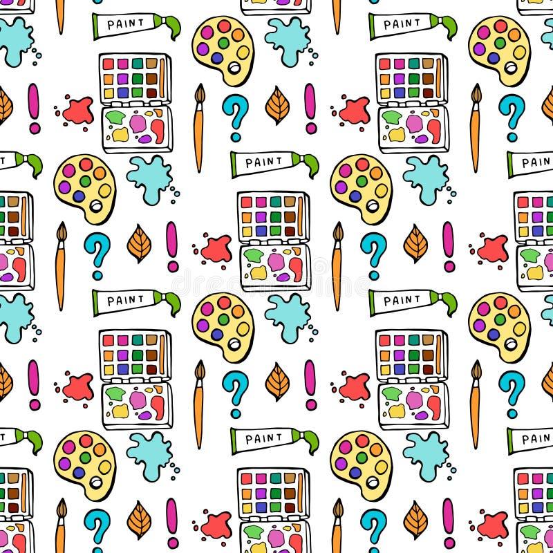 Bezszwowy barwiący z powrotem szkoła wzór z dostawami stacjonarnymi i kreatywnie elementami Kolorowej zabawy wektoru śliczna lini ilustracja wektor