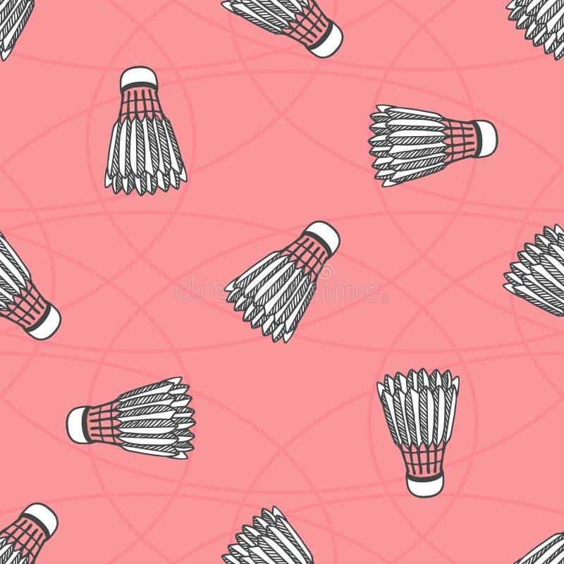 Bezszwowy barwiony badminton piłki wzór ilustracja wektor
