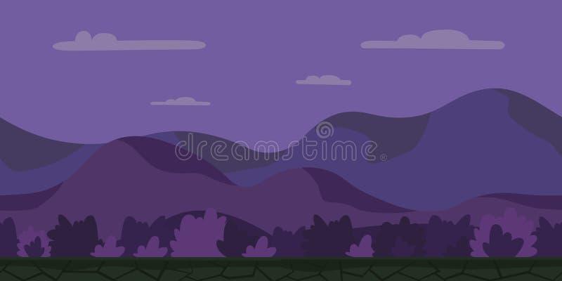 Bezszwowy bez końca kreskówki tło dla arkady gry Noc górkowaty krajobraz z krzakami również zwrócić corel ilustracji wektora royalty ilustracja