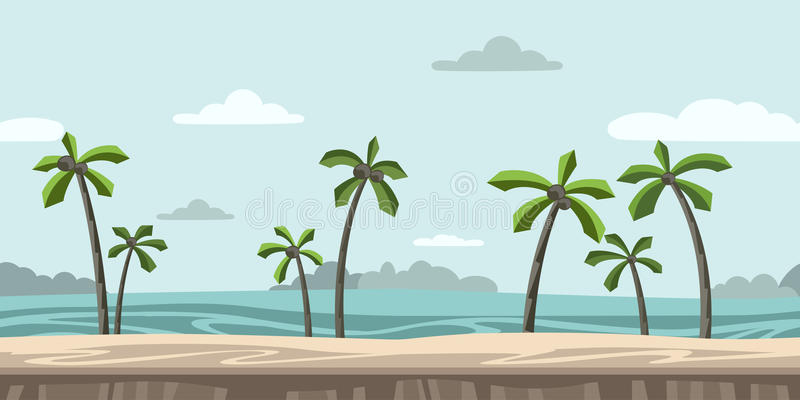 Bezszwowy bez końca tło dla arkady gry Piaskowata plaża z drzewkami palmowymi i chmurami w niebieskim niebie wektor royalty ilustracja