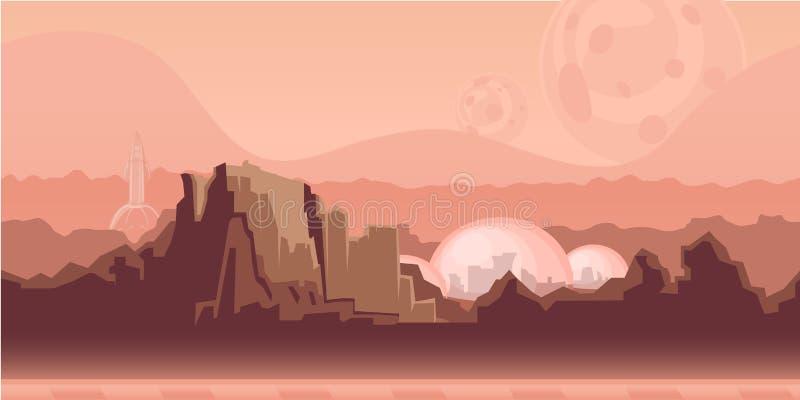 Bezszwowy bez końca tło dla gry lub animaci Powierzchnia planeta Mąci z górami, astronautyczna ugoda i royalty ilustracja