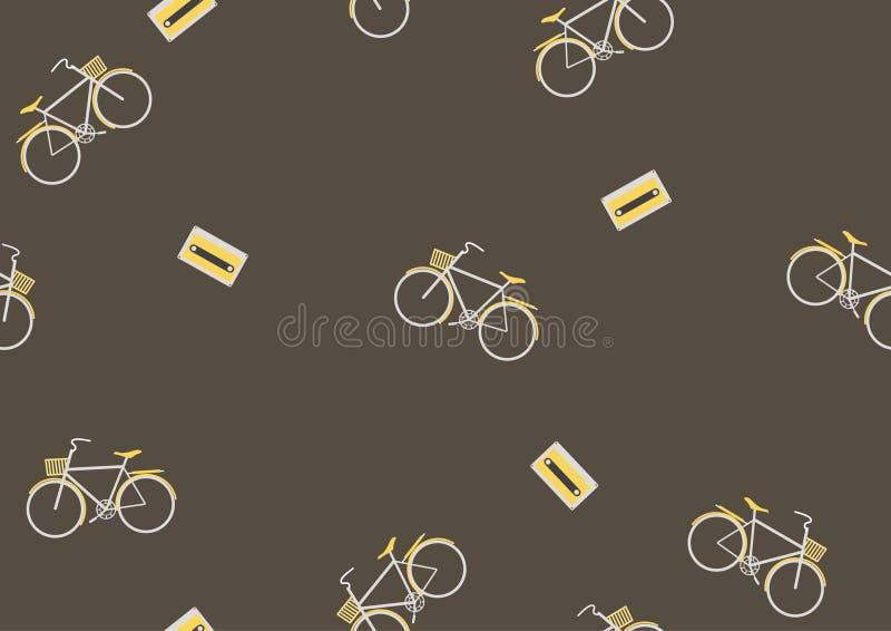 Bezszwowy bicyklu wzór, Retro, Wektorowa ilustracja, ilustracja wektor