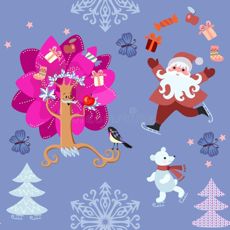 Bezszwowy boże narodzenie wzór z Santa Claus i mały niedźwiedź polarny na łyżwach, piękny zimy drzewo, płatek śniegu ilustracja wektor