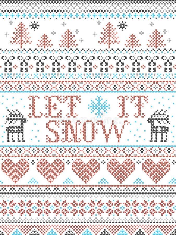 Bezszwowy boże narodzenie wzór Pozwalał mnie Śnieżny skandynawa styl, inspirujący Norweskimi bożymi narodzeniami, świąteczna zima ilustracji