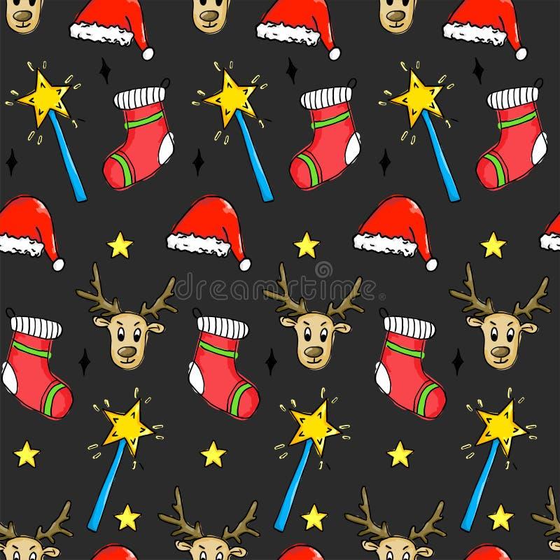 Bezszwowy boże narodzenie wzór - Santa kapelusz, Magiczna różdżka, gwiazda, rogacz o royalty ilustracja