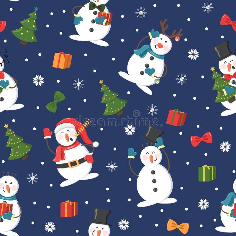 Bezszwowy boże narodzenie wzór z bałwanem, prezentami i opad śniegu, royalty ilustracja