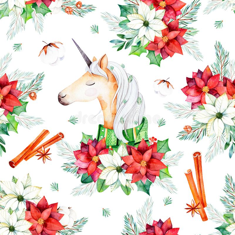 Bezszwowy boże narodzenie wzór z kwiatami, śliczna jednorożec, liście, gałąź, bawełna kwitnie ilustracji