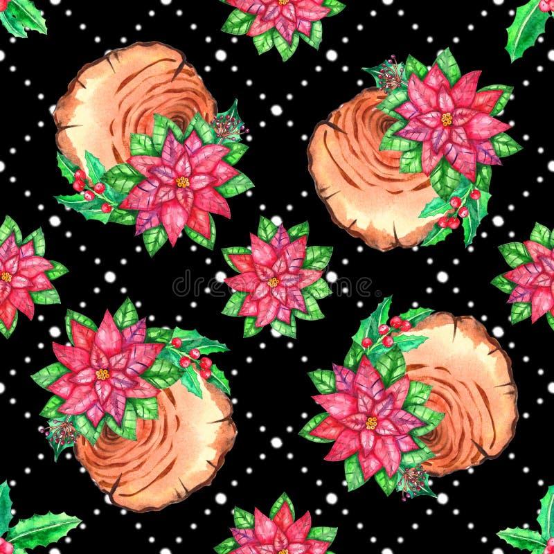 Bezszwowy boże narodzenie wzór z kwiatami, drewniani plasterki, opuszcza, gałąź, kwiaty i więcej, Doskonalić dla twój projekta, ś royalty ilustracja