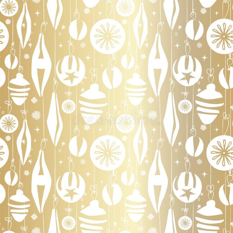 Bezszwowy boże narodzenie wzór z wiszącymi roczników baubles ornamentami, płatek śniegu i gwiazdami, Świąteczny Bożenarodzeniowy  ilustracji