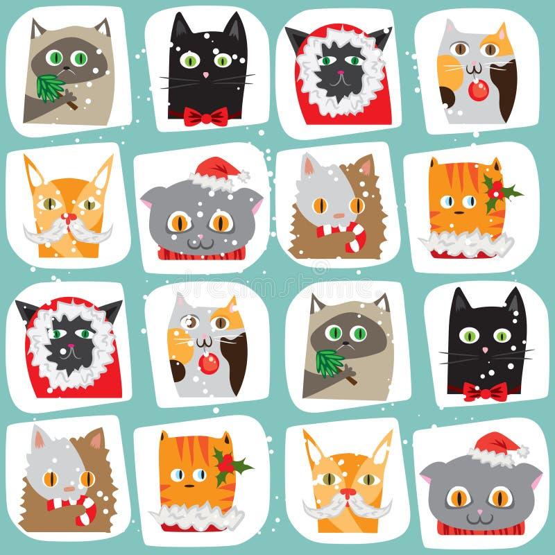 Bezszwowy Bożenarodzeniowy kota tło Śliczny zwierzę płytki wzór Nowego Roku papper opakunkowa tekstura royalty ilustracja