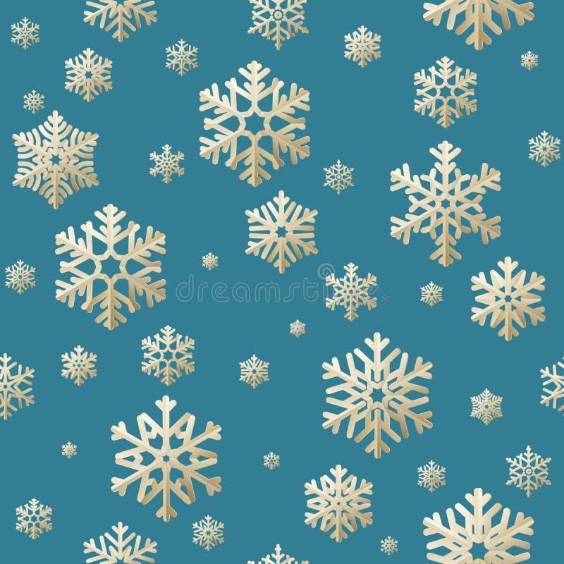 Bezszwowy Bożenarodzeniowy tło od śnieżnych płatków aplikacyjnych na błękitnym tle 10 eps ilustracja wektor