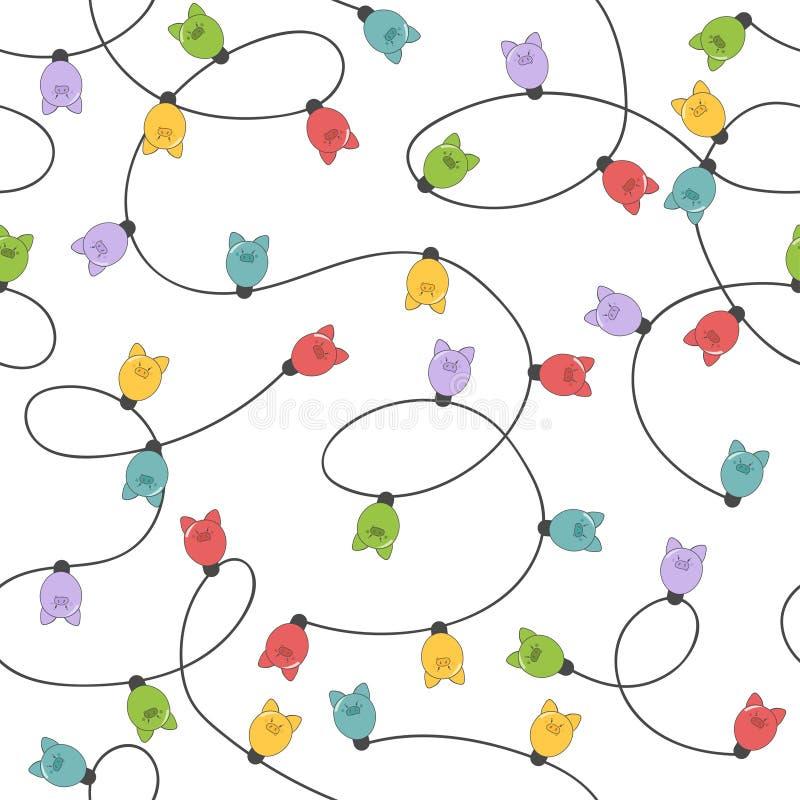 Bezszwowy bożonarodzeniowe światła wzór z kolorową akwareli girlandą lekkie świniowate żarówki ilustracji