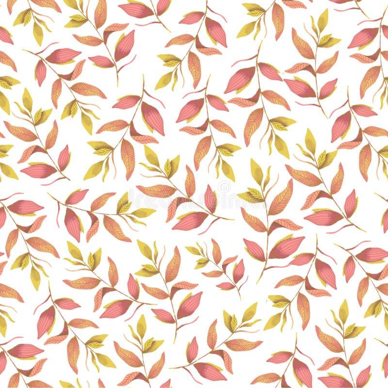 Bezszwowy botaniczny różowy koloru żółtego wzór Cyfrowej ilustracja fotografia stock