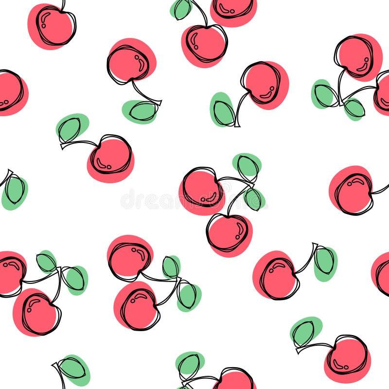 bezszwowy cherry wzoru Dobry dla tkaniny, opakowania, tapet, etc, Słodkie czerwone dojrzałe wiśnie odizolowywać na białym tle wek ilustracji
