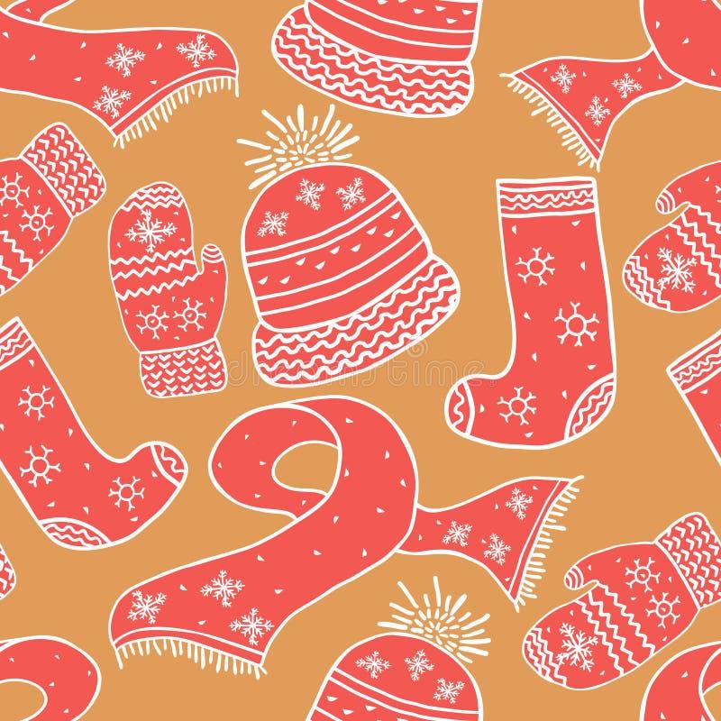 Bezszwowy ciepły zima wzór Tło z zima trykotowymi elementami Wakacje tło ilustracji