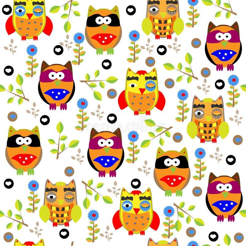Bezszwowy colourfull sowy wzór dla dzieciaków w wektorze ilustracja wektor