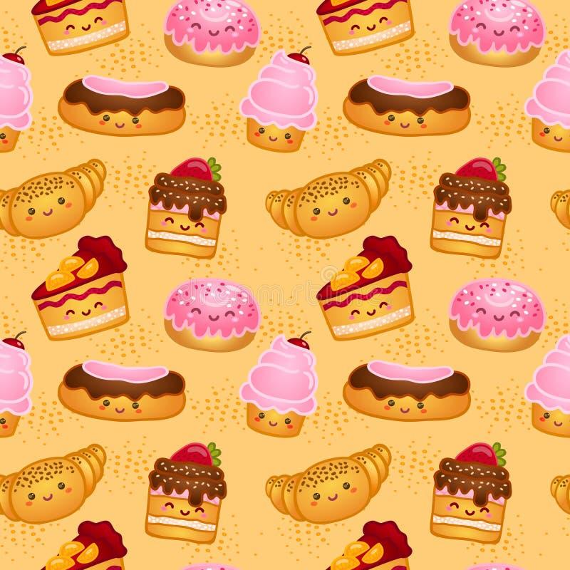Bezszwowy cukierki piec ciasta royalty ilustracja