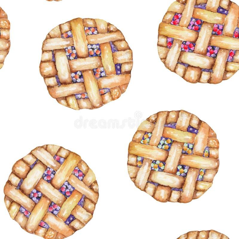 Bezszwowy cukierki wzór z akwareli jagody kulebiakiem Malujący pociągany ręcznie na białym tle royalty ilustracja