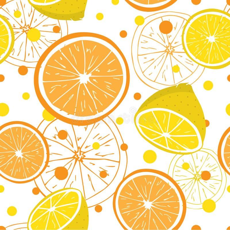 Bezszwowy cytryny i pomarańcze owoc wzoru projekt royalty ilustracja