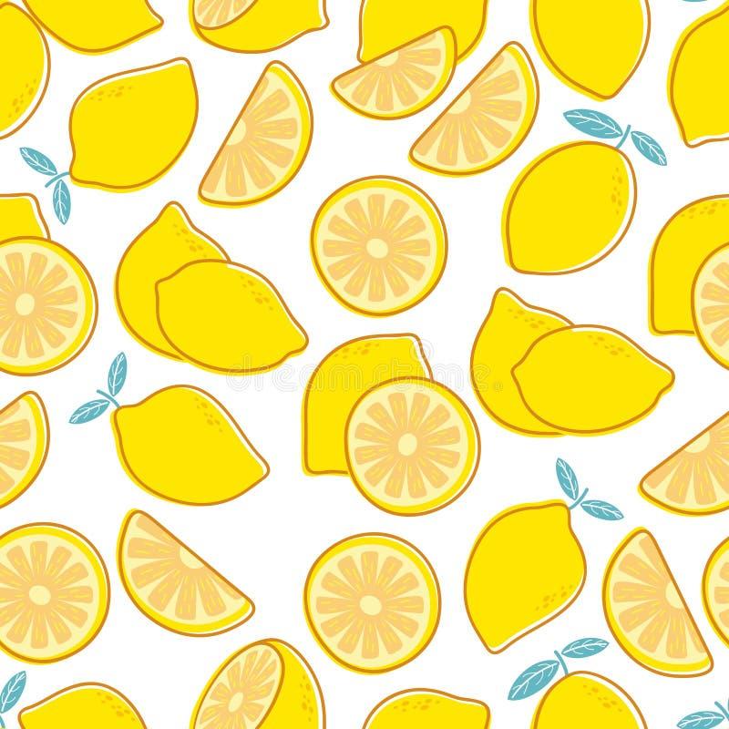 bezszwowy cytryny wzoru Tropikalnego cytrusa egzotyczny owocowy druk Żółtego cytryny lata kwiecisty wielostrzałowy wektorowy deko ilustracji
